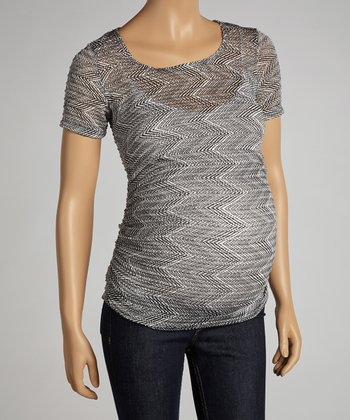 Black Zigzag Maternity Short-Sleeve Top