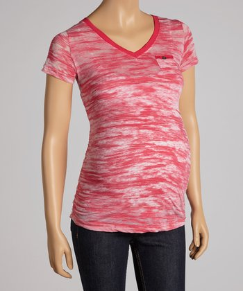 Fuchsia Burnout Maternity V-Neck Top - Women