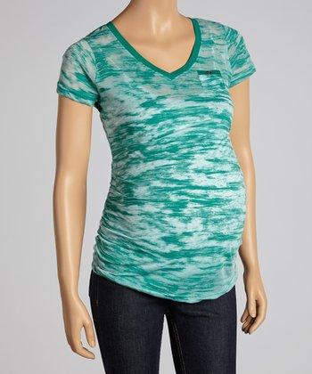 Mom & Co. Emerald Maternity Burnout V-Neck Top - Women