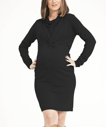 Black Knit Cowl Neck Maternity Dress