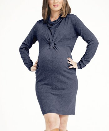 Smudge Knit Cowl Neck Maternity Dress