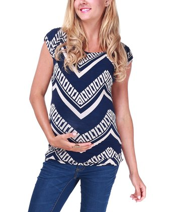 Navy & Beige Geometric Zigzag Cap-Sleeve Maternity Top