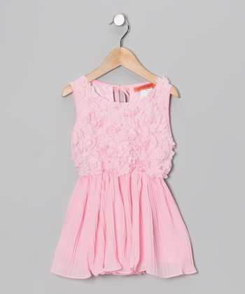 Light Pink Flower Pleated Dress - Toddler