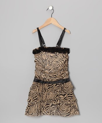 Black Zebra Drop-Waist Dress - Toddler & Girls