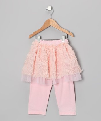 Pink & Peach Skirted Leggings - Toddler