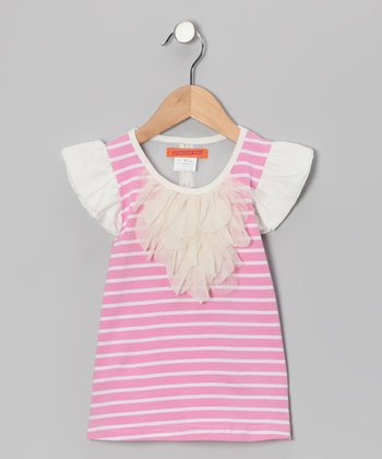 Pink Stripe Angel-Sleeve Top - Toddler & Girls