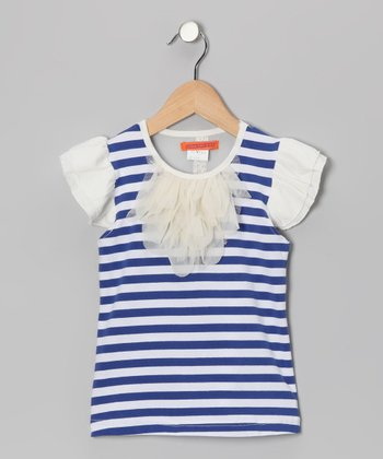 Blue Stripe Angel-Sleeve Top - Girls