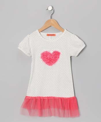 White & Pink Heart Tutu Tunic - Girls