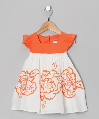 Orange Flower Angel-Sleeve Dress - Toddler & Girls