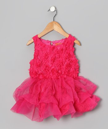 Hot Pink Flower Ruffle Dress - Toddler & Girls