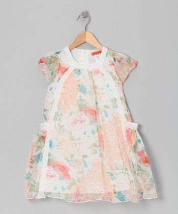 Cream & Peach Watercolor Dress - Toddler & Girls