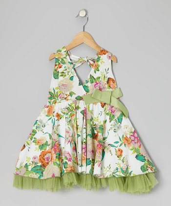 Green Floral Ruffle Halter Dress - Toddler & Girls