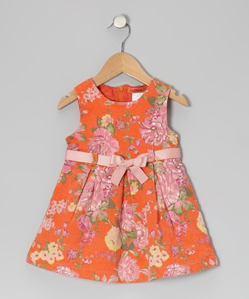 Red Floral Bow Belt Dress - Toddler & Girls