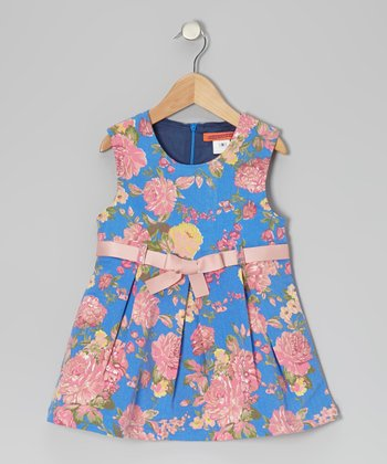 Blue Floral Bow Belt Dress - Toddler & Girls