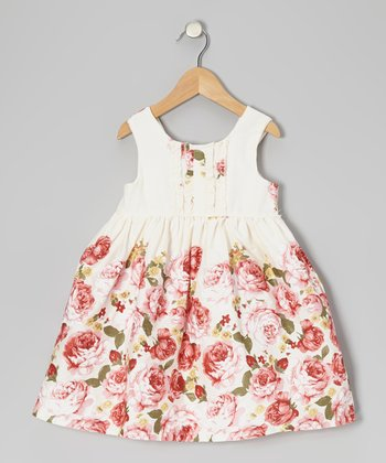 White & Pink Rose Ruffle Dress - Girls