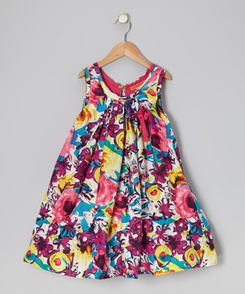 Pink & Blue Floral Swing Dress - Toddler & Girls