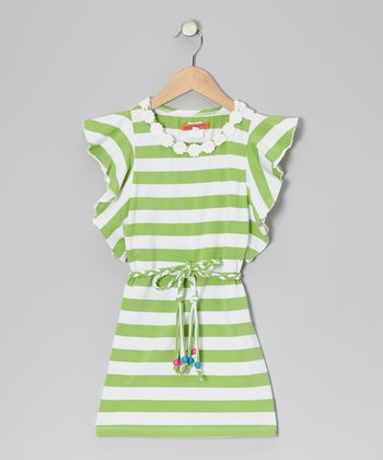 Green & White Stripe Angel-Sleeve Dress - Toddler & Girls