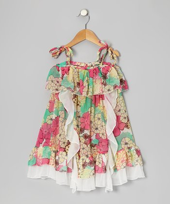 Pink & Aqua Floral Ruffle Dress - Toddler & Girls