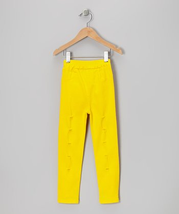 Yellow Distressed Pants - Girls