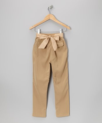 Khaki Polka Dot Bow Pants - Toddler & Girls