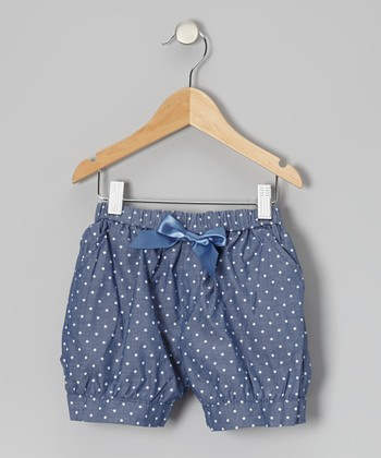 Blue Polka Dot Bow Shorts - Toddler & Girls