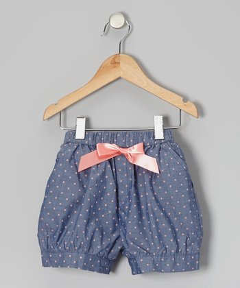 Blue & Pink Polka Dot Bow Shorts - Toddler & Girls