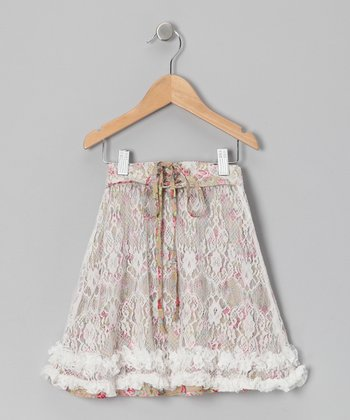 Brown & Pink Lace Ruffle Skirt - Toddler & Girls