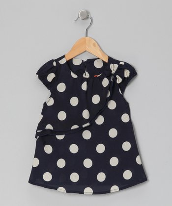 Navy & White Polka Dot Top - Toddler & Girls