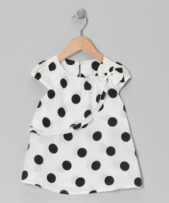 White & Navy Polka Dot Top - Toddler & Girls