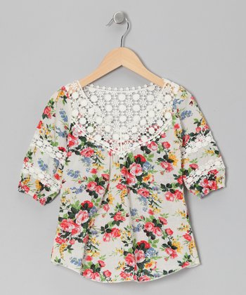 Cream Floral Embroidered Top - Girls