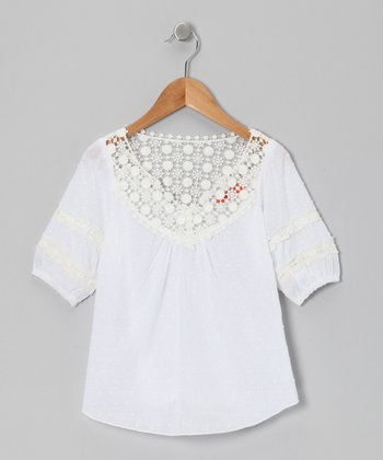 White Swiss Dot Embroidered Top - Toddler & Girls