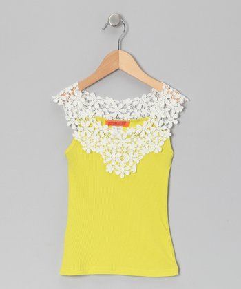 Yellow Floral Embroidered Tank - Toddler & Girls