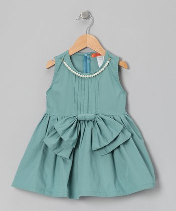 Mint Bow Pearl Tunic - Girls