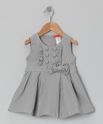 Silver Button Bow Tunic - Toddler & Girls