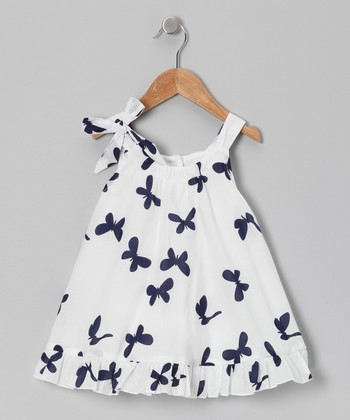 White & Navy Butterfly Top - Toddler & Girls