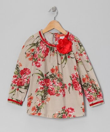 Cream & Red Flower Tunic - Toddler & Girls
