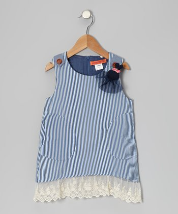 Blue & White Stripe Lace-Trim Shift Dress - Girls