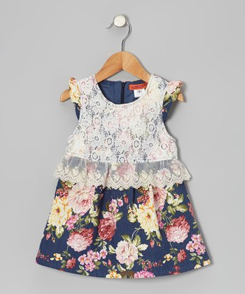 Navy Floral Lace Dress - Toddler & Girls