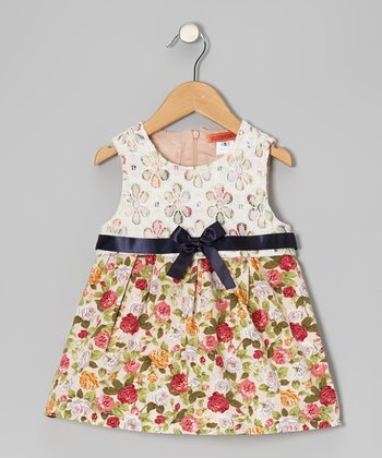 Cream & Pink Floral Lace Bow Dress - Toddler & Girls