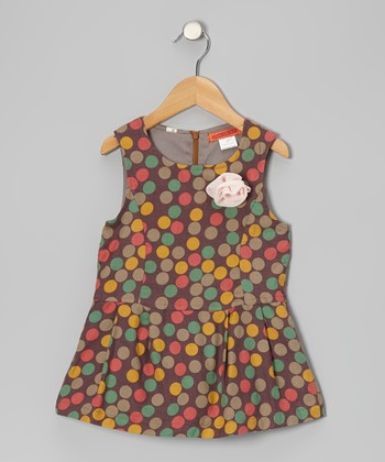 Brown Polka Dot Drop-Waist Dress - Girls