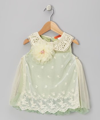 Green Eyelet Lace Collar Dress - Toddler & Girls