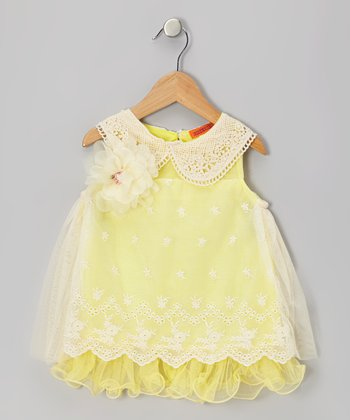 Yellow Eyelet Lace Collar Dress - Toddler & Girls