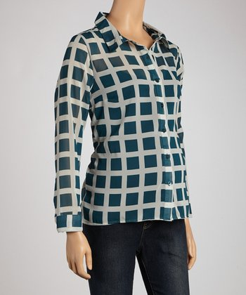 Teal Sheer Maternity Button-Up