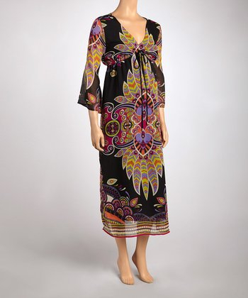 Black Paisley Maternity Maxi Dress
