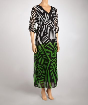 Green Abstract Maternity V-Neck Dress - Women