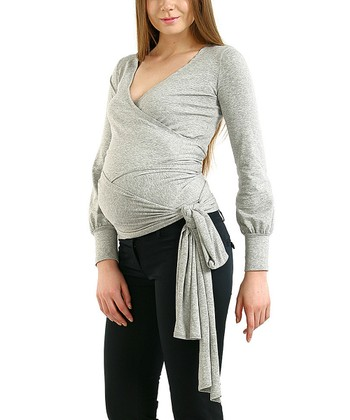 Heather Gray Evelyn Maternity Wrap Top