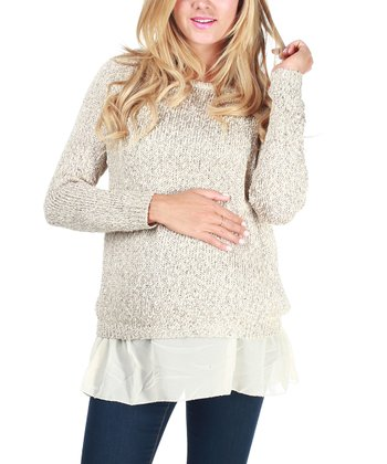 Beige Sparkle Maternity Sweater - Women