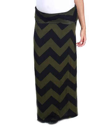 Olive & Black Zigzag Under-Belly Maternity Maxi Skirt - Women