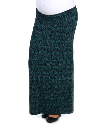 Green Tribal Under-Belly Maternity Maxi Skirt - Women
