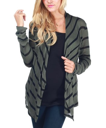 Olive Green & Black Stripe Maternity Open Cardigan